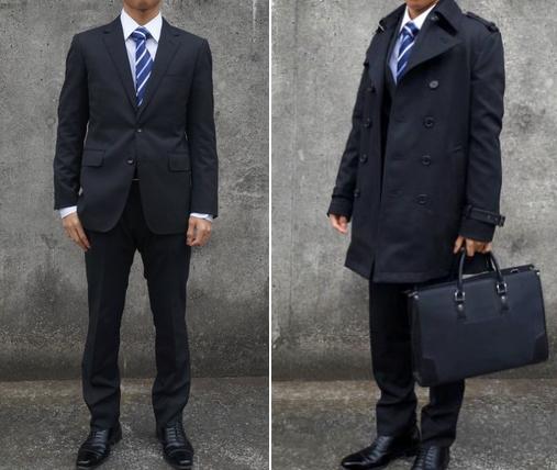 コートとスーツ着用