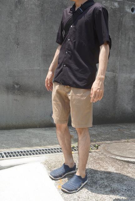 ハーフパンツ膝上丈